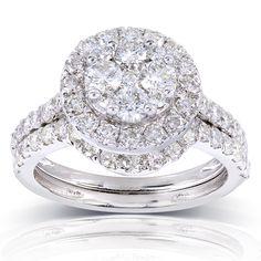 Annello by Kobelli 14k Gold 1 1/3ct TDW Round Diamond Cluster 2-Ring Bridal Set