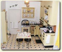 Custom miniature Art Deco kitchen decor for a recreation of a vintage 1930s Art Deco miniature house.