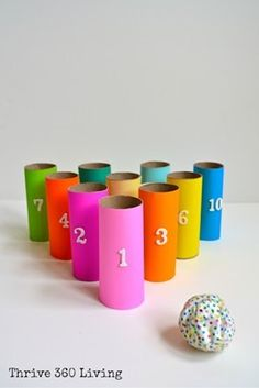 Turn old toilet paper rolls into a game of bowling for toddlers! Plus other games and activities with toilet paper rolls! Kids Crafts, Toddler Crafts, Crafts To Do, Rainy Day Crafts, Rainy Day Activities, Craft Activities, Toilet Roll Craft, Toilet Paper Roll Crafts, Diy For Kids