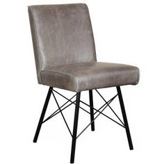 Barton Grey Leather Industrial Dining Chair With Steel Legs   Modish Living  Dining Chair