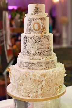 Elegant Wedding Bridal Showcase 2012 Photos By: Monique Simon Photography Music Wedding Cakes, Pastel Wedding Cakes, White And Gold Wedding Cake, Music Cakes, Wedding Cake Decorations, Wedding Cakes With Flowers, Elegant Wedding Cakes, Elegant Cakes, Beautiful Wedding Cakes