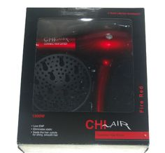 CHI Air Ceramic Hair Dryer Fire Red 1300 W Nozzle Diffuser NEW NIB #Chi Chi Hair Products, Flat Iron, Hair Dryer, Valentine Day Gifts, Diffuser, Fire, Ceramics, Ceramica, Pottery