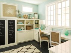 Beach home office with chalkboard cabinets