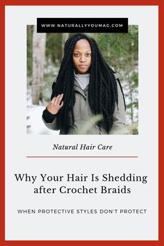 When you take the braids out it sometimes seems to take half of your hair with it. The same can happen with other types of extensions and weaves.Let's talk about two reasons shedding happens after crochet braids, and how you can prevent it. #teamnatural #naturalhaircommunity #naturalhairstyles #crochetbraids #naturalhairproblems.