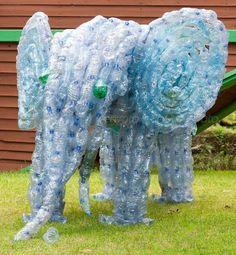 Elephant - plastic bottles art