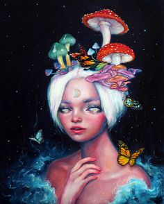 Happy D Artist - ideas for hair clips and head pieces Art Prints, Psychedelic Art, Art Inspo, Drawings, Fantasy Art, Painting, Illustration Art, Happy D Artist, Portrait Art