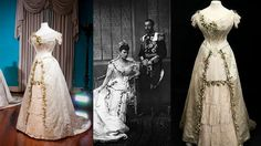 The wedding dress of Mary of Teck who became Queen Mary, the grandmother of Queen Elizabeth II.
