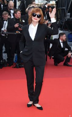 Susan Sarandon in a Saint Laurent suit and Dauphin earrings at the opening ceremony premiere of Café Society at the Cannes Film Festival.