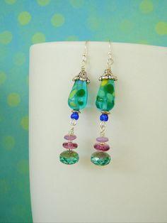 Boho Earrings, Long Dangle Earrings, Whimsical Earrings, Bohemian Jewelry, Art Jewelry on Etsy, $36.00