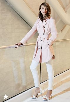 Rain or shine, a trench is a must-have come spring. Swap out your traditional khaki or black trench, for this season's favorite color, pink! Treat the pale pink like a neutral and pair with everything from your little white dress to your favorite distressed denim look. Available now at Macy's!
