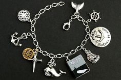 Ahab and Ishmael Bracelet. Anchor Charm, Initial Charm, Refuse To Sink, Nail Charms, Valentines Sale, Thing 1, Classic Books, Gold Coins, Bracelet Sizes