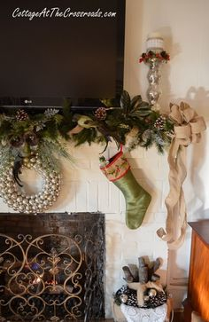 Cottage at the Crossroads  Christmas mantel 2012