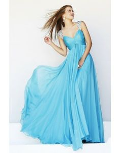 Enchanted Straps Princess Beaded Ruffled Prom Dresses Aqua