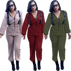 842c7dbe8edb Women Long Sleeves Zipper Release Buckle Solid Casual Long Jumpsuit Rompers  Club  fashion  clothing  shoes  accessories  womensclothing   jumpsuitsrompers ...