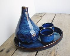 Saki Set Blue Ceramic Tray Cup Pitcher by ThrowingShop on Etsy, $60.00