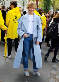 Vika Gazinskaya spotted on the street at Paris Fashion Week. Photographed by Phil Oh.