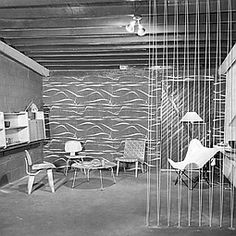 1949 interior design | Strata wallpaper in the Adler/Schnee showroom in Detroit in 1949. ...