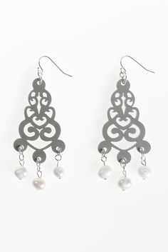 Filigree Acrylic Earrings with Freshwater Pearls- Filigree pattern is delicately cut from silver coloured acrylic which hang from a sterling silver filled ear hook. Freshwater pearls dangle from the bottoms of these bold statement earrings. Statement Earrings, Drop Earrings, Filigree, Fresh Water, Jewelry Collection, Indigo, Dangles, Jewellery, Pearls