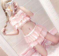 "Lovely falbala bikini suit Coupon code ""cutekawaii"" for 10% off"