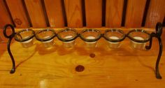 Wrought Iron Votive Holder, Distressed Black, 6 Glass Votive Cups and TeaLights #Unbranded $18.99