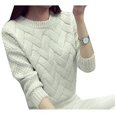 427f4d98c4 Women Solid Round neck Long Sleeve Loose Jumper Pullover Knitted Sweater      Continue to