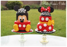 Mickey and Minnie! - Mickey and Minnie for a double birthday party! The Mickey cake is a remake of a design I just did not too long ago. Just altered it a bit.. The Minnie Dress is an actual design from another artist. Im not sure who to give credit to.  My customer provided me with the photo.. So thank you, whoever you are :)