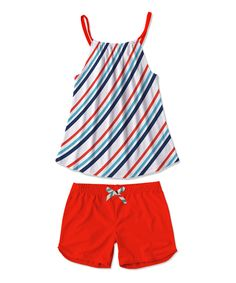 White & Navy Stripe Tank & Red Shorts - Toddler & Girls