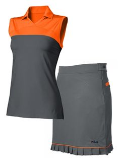 Fila Golf Valencia Polo & Malaga Skort in Silver/Atomic Orange | #Golf4Her.com #womensgolf #golf