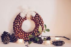Make a Hazelnut Fall Wreath (Dollar Store Crafts) Diy Christmas Garland, Christmas Decorations For The Home, Wooden Christmas Trees, Rustic Christmas, Christmas Fun, Christmas Kitchen, Christmas Ornament, Harvest Decorations, Natural Christmas
