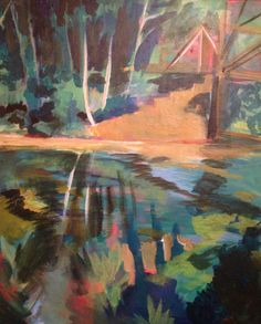Bridge over C&O Canal, Great Falls, MD, original acrylic painting, 2002(?)