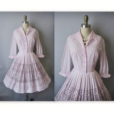 OMG!!  I am in love with this dress! 50s Dress // Vintage 1950s Lilac Shirtwaist Peekaboo Lace Garden Party Day Dress M L. $62.00, via Etsy.