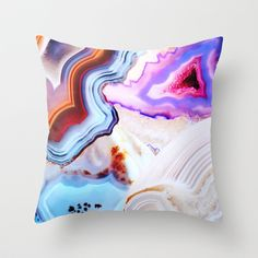 Agate,+a+vivid+Metamorphic+rock+on+Fire+Throw+Pillow+by+Elena+Kulikova+-+$20.00
