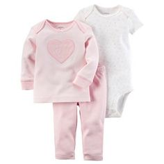 "Baby Girl Carter's ""Mommy Loves Me"" Tee, Bodysuit & Pants Pajama Set"