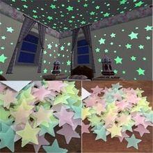 50 Pcs 3d Estrelas Brilham No Escuro Adesivos De Parede Luminosa