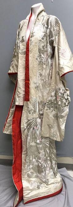 Vtg. Japanese Uchikake Wedding Kimono Heavily Embroidered Metallic Heron Crane  | eBay