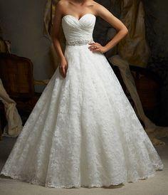 White / Ivory Aline lace wedding dress sweetheart by Swarovski169, $153.00