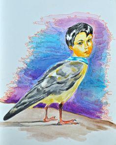 Original art by Gloria E. Icarus. Water Color. Half Bird half human. Boy and sea gull. Colorful.