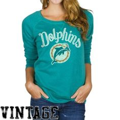 Junk Food Miami Dolphins Ladies Field Goal Crew Fleece Sweatshirt - Aqua XL