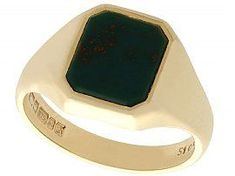 Bloodstone and 9 ct Yellow Gold Signet Ring - Vintage (1976) SKU: C4046 #bloodstonesignetring #goldsignetring #mensjewelry