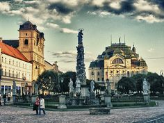 Distant view of statues in Kosice, Slovakia