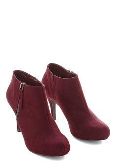 I Get a Click Out of You Bootie. The sound of your strut in these Merlot-red booties makes your heart flutter! #red #modcloth