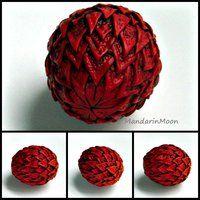 Fire Dragon Egg Polymer Clay by MandarinMoon