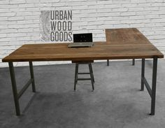 L Shaped Desk with reclaimed wood top and square steel legs