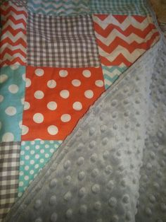 Baby quilt. I. WANT. THIS. except i would have the orange be a cream or a beige