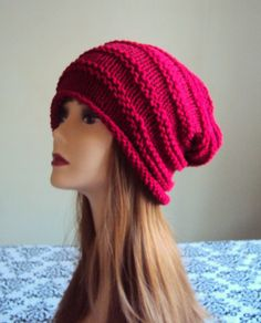 SLOUCHY KNIT HAT Beanie Burgundy Red Baggy Hat Chunky Celebrity Hat Rasta Hat Women's Men's Winter Accessories Chunky Gift Ideas Under 50 by GrahamsBazaar, $34.99