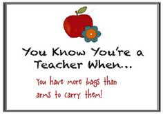 """One day I just might fall over...""""Help, I've fallen and I'm drowning in teaching bags!"""""""
