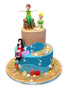 Captain Hook Tinker Bell Peter Pan Cake It is delicious looking and the decorations are made to appear as realistic as possible. It was made for a child from New York on his 4th birthday. The cake is a vanilla cake. The fondant and gum paste decorations bear almost every color of the rainbow! It is large enough to serve a gathering of 30 people. The cake has two tiers ... http://cmnycakes.com/gallery2/v/Cakes+For+All+Occasions/Captain+Hook+Tinker+Bell+Peter+Pan+Cake.html
