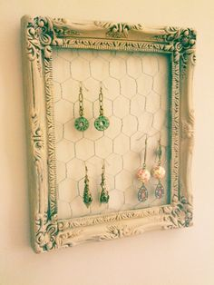 Earring Display Frame Farmhouse Chic by WillowTreeCottageTN, $12.95.....could so make this with an old picture frame and some chicken wire