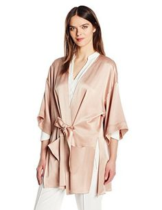 """Luxe satin flowy kimono with multi needle stich detail at edge of sleeves and at self sash       Famous Words of Inspiration...""""A dreamer is one who can only find his way by moonlight, and his punishment is that he sees the dawn before the rest of the...  More details at https://jackets-lovers.bestselleroutlets.com/ladies-coats-jackets-vests/casual-jackets/product-review-for-halston-heritage-womens-satin-kimono-wrap-jacket-with-multi-needle-sash/"""