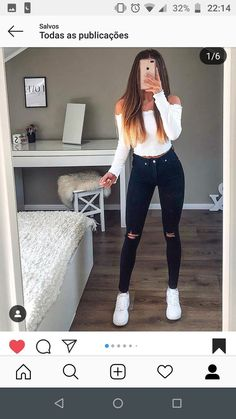 Teen Fashion - Outfits for Teens Rihanna Outfits, Baddie Outfits For School, Komplette Outfits, Cute Casual Outfits, Jean Outfits, Outfits For Teens, Summer Outfits, Fashion Outfits, Autumn Outfits